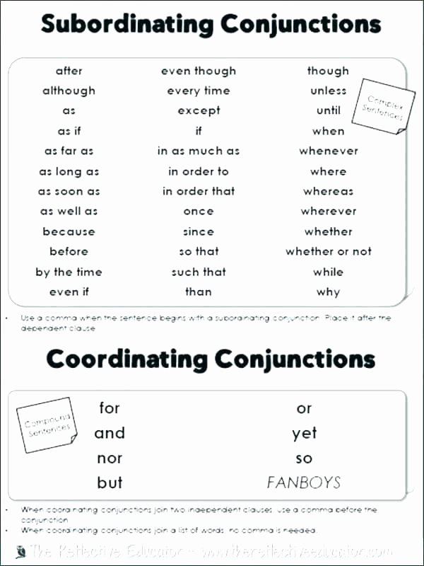 Conjunctions Worksheets 5th Grade Conjunctions Worksheets for Grade 6 and Interjections
