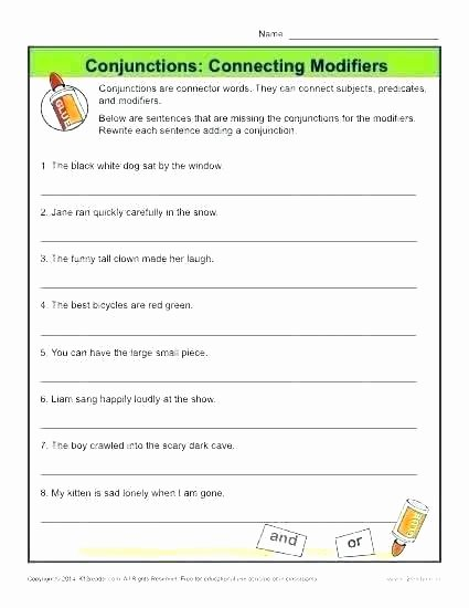 Conjunctions Worksheets 5th Grade First Grade Conjunction Worksheets 5 9 Conjunctions Coordinating