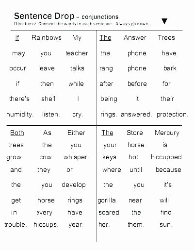 Conjunctions Worksheets 5th Grade Printable Conjunctions Worksheets for Paired Free Jigsaw