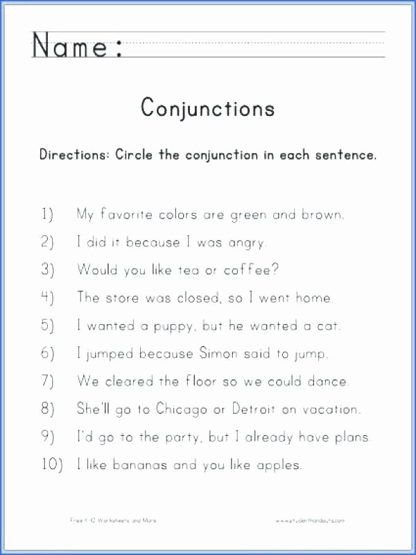 Conjunctions Worksheets 5th Grade Start Here