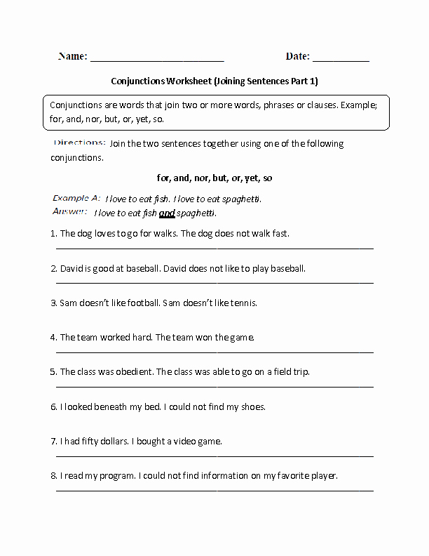 Conjunctions Worksheets for Grade 3 Conjunctions Worksheet Joining Sentences Intermediate