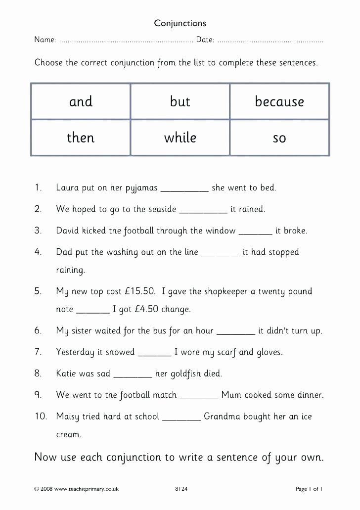 Conjunctions Worksheets for Grade 3 Coordinating Conjunctions Worksheets for Grade 3 Years and 4