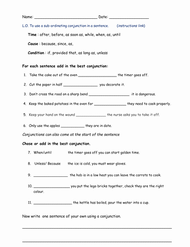 Conjunctions Worksheets for Grade 3 Fanboys Conjunctions by Bethrob