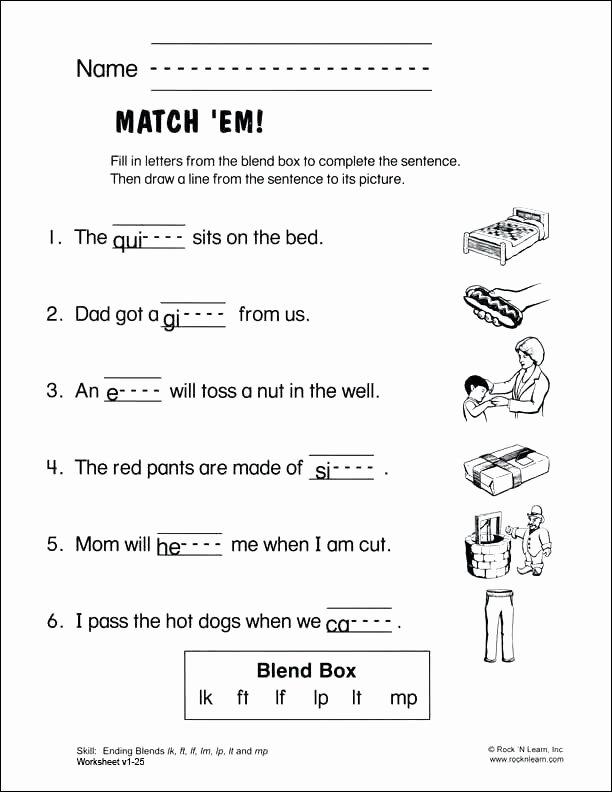 Consonant Blends Worksheets 3rd Grade 30 Ending Blends Worksheet