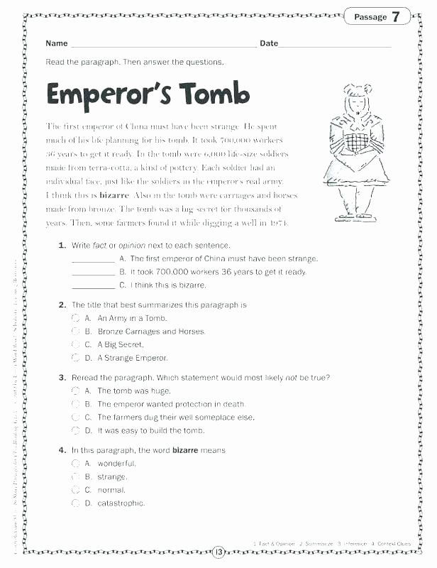Context Clues 5th Grade Worksheets Cloze Passage Worksheets for Grade 4 Cloze Passage