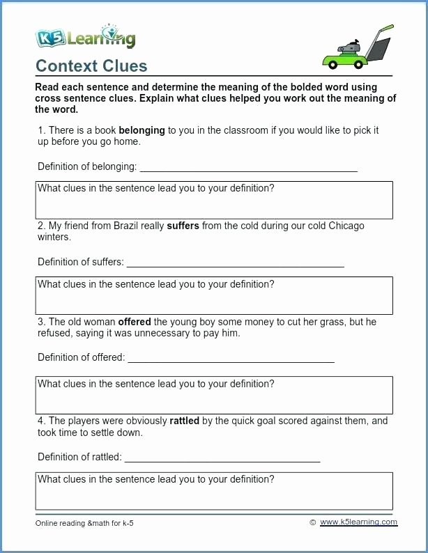 Context Clues 5th Grade Worksheets Context Clues Worksheets for Grade 5