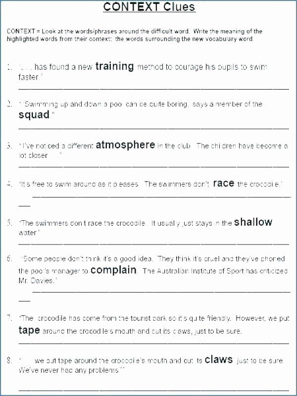Context Clues Worksheets 1st Grade 4th Grade Context Clues Worksheets Pdf