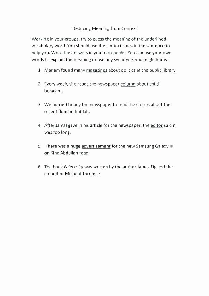 Context Clues Worksheets 1st Grade Context Clues Worksheets 1st Grade