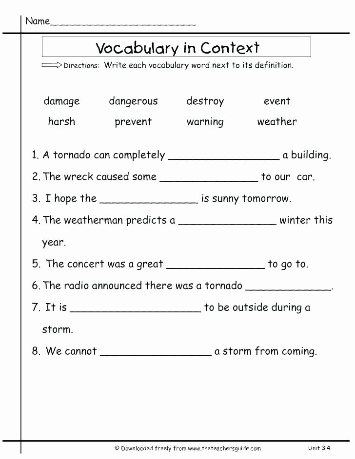 Context Clues Worksheets 1st Grade Grade Context Clues Worksheets Vocabulary Free Reading Tests
