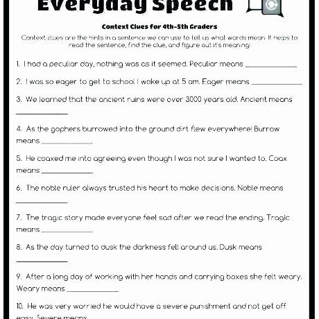 Context Clues Worksheets Grade 5 Context Clues Worksheets for Grade 5 1 Worksheet Use to