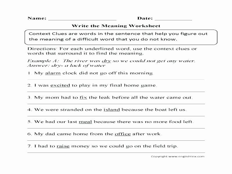 Context Clues Worksheets Grade 5 Context Clues Worksheets with Answers Context Clues Reading
