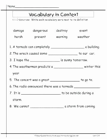 Context Clues Worksheets Second Grade Context Clues Worksheets for Grade 5