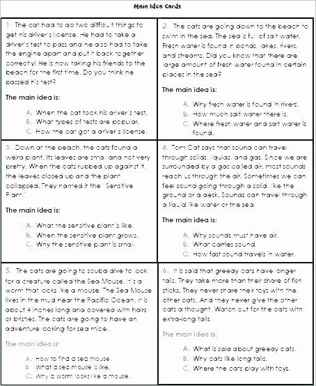 Context Clues Worksheets Second Grade Second Grade Main Idea Worksheets