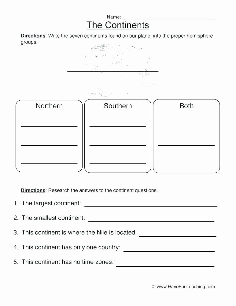 Continents and Oceans Blank Worksheet Blank Continent Ocean Map Continents and Oceans Worksheets