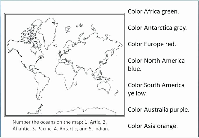Continents and Oceans Printable Worksheets Continents Worksheet 2 Geography Worksheets Free and T
