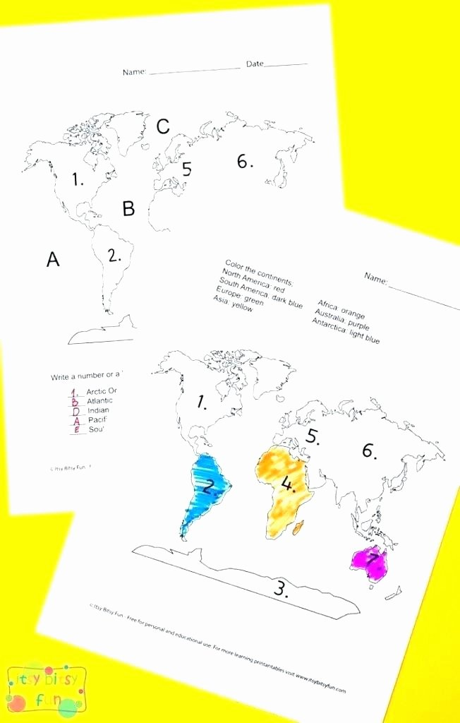 Continents and Oceans Printable Worksheets south Worksheets and Geography for Preschool Free Printable