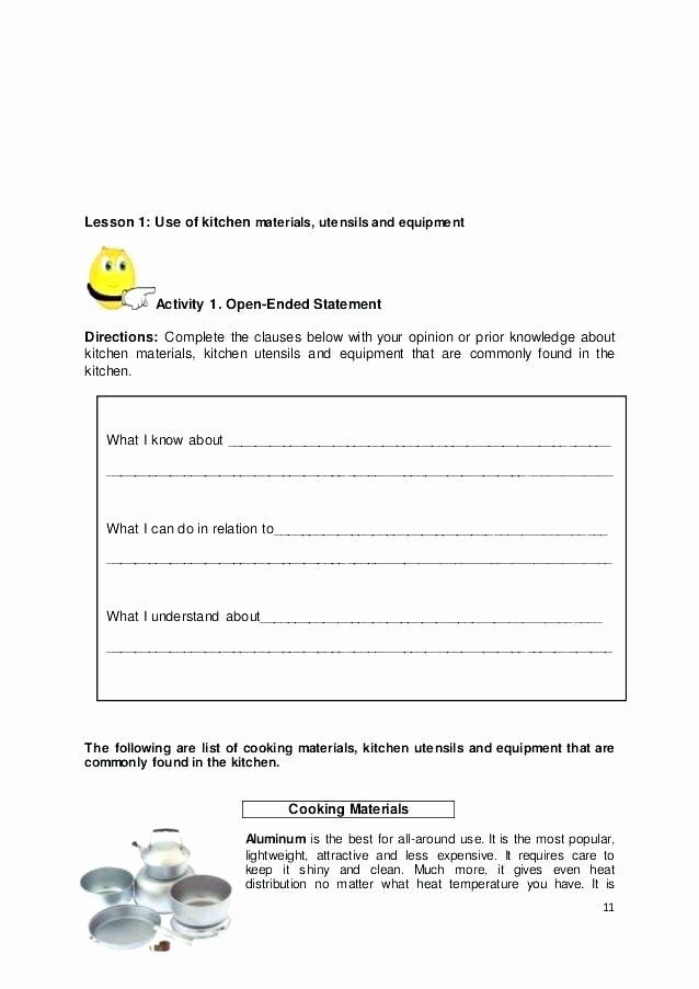 Cooking Measurement Conversion Worksheets Cooking Worksheets for Special Needs Home Economics Food