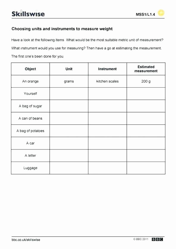 Cooking Measurement Conversion Worksheets Measuring Worksheets