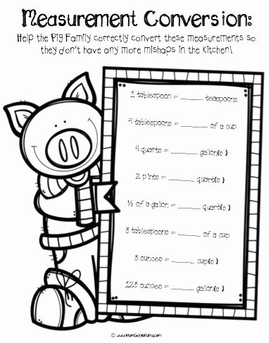 Cooking Measurement Conversion Worksheets Pigs In the Pantry Math Cooking Measurement Worksheets and