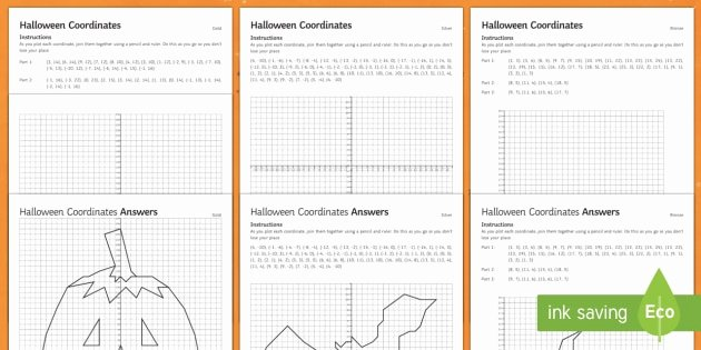 Coordinate Worksheet Pictures Maths Halloween Coordinates Differentiated Worksheets