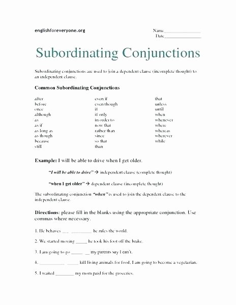 Correlative Conjunctions Worksheets with Answers Conjunctions Worksheets 5th Grade