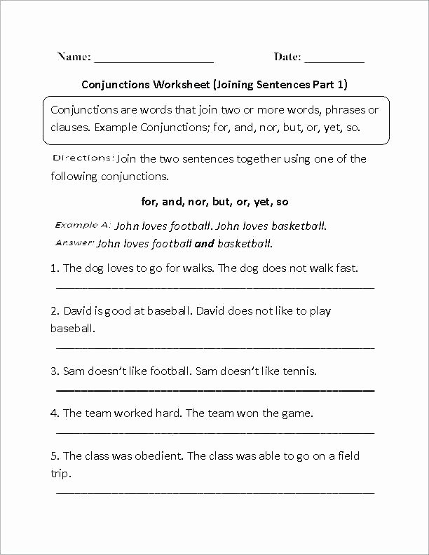 Correlative Conjunctions Worksheets with Answers Interjection Worksheets Pdf with Answers Conjunctions Grade