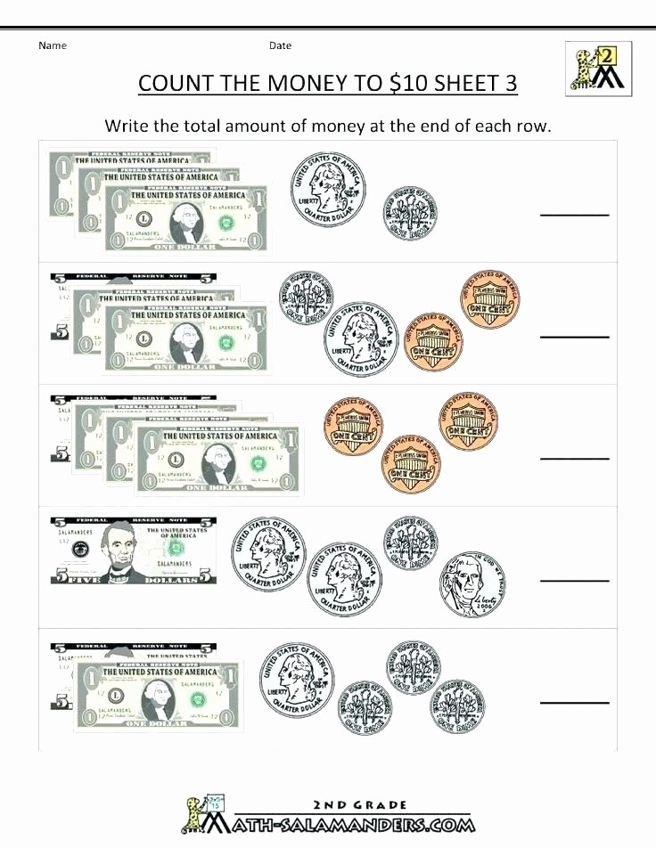 Counting Bills and Coins Worksheets 2nd Grade Math Money Worksheets