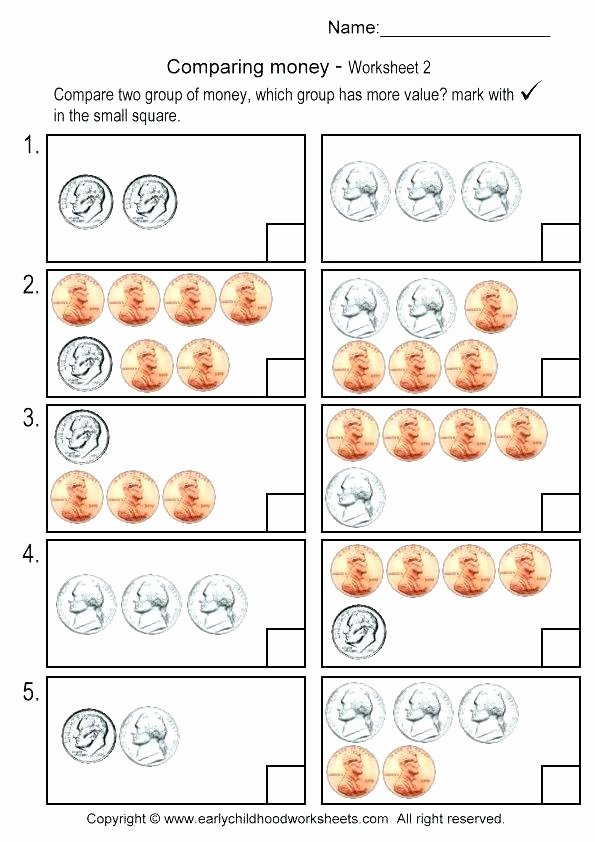 Counting Bills and Coins Worksheets Pennies Nickels and Dimes Homework Worksheet for Grade