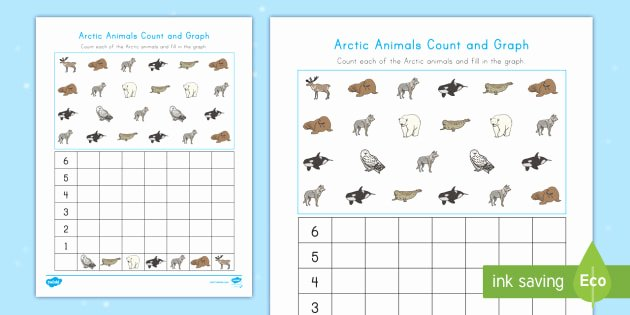 Counting Blocks Worksheets Arctic Animals Color Count and Graph Worksheet Graph