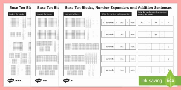 Counting Blocks Worksheets Base Ten Blocks Number Expanders and Partitioning