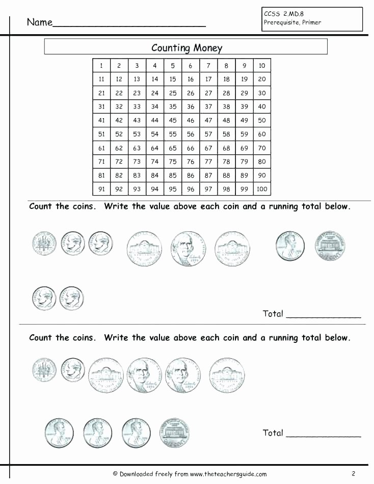 Counting Coins Worksheets 2nd Grade Coin Worksheets for Kindergarten Identifying Canadian Value Ks1