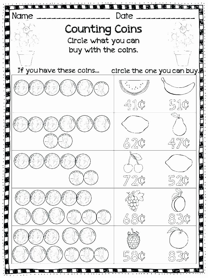 Counting Coins Worksheets 2nd Grade First Grade Adding Worksheets