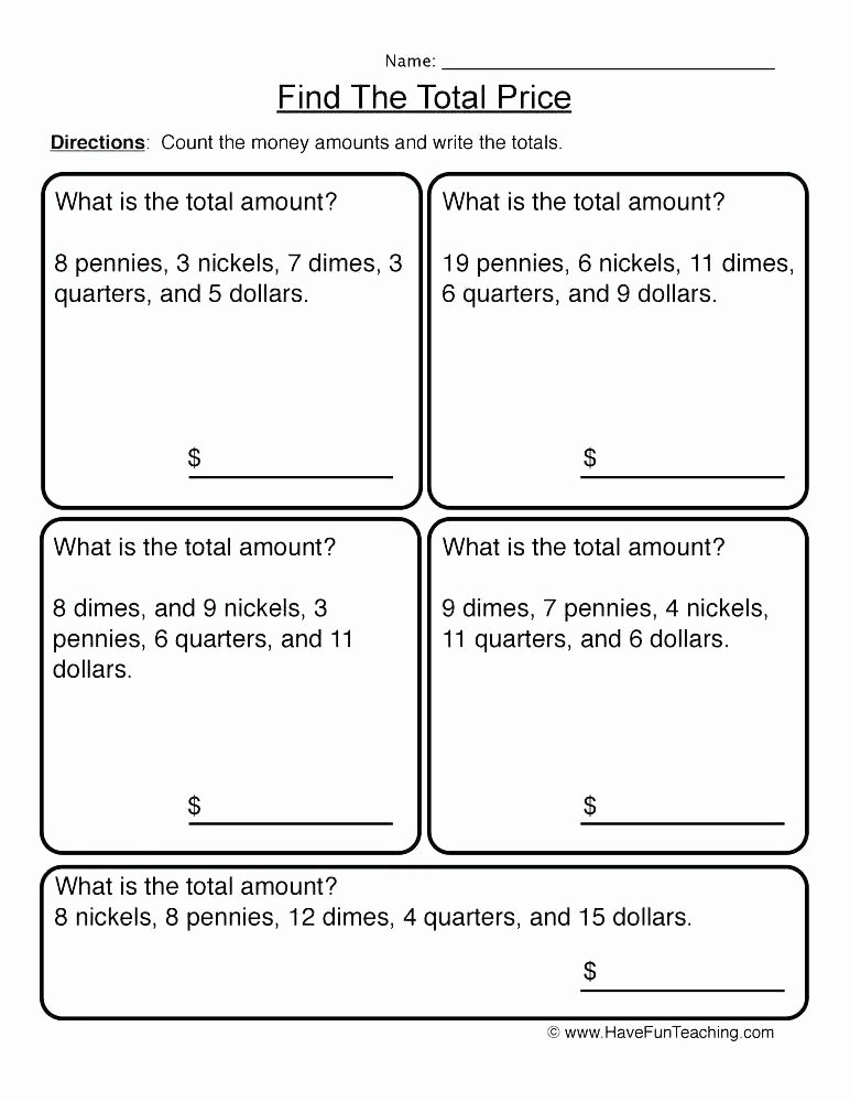 Counting Coins Worksheets 2nd Grade Teaching Money to 2nd Grade Worksheets Counting Coins
