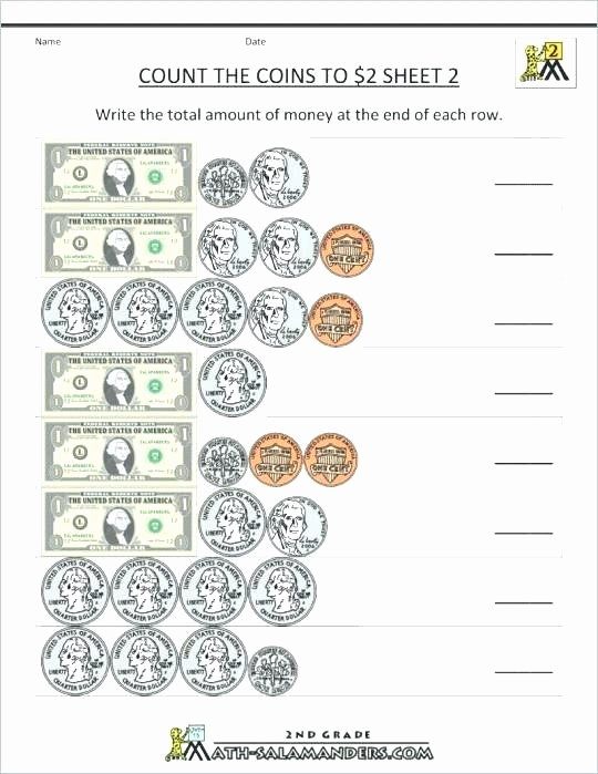 Counting Coins Worksheets 2nd Grade Third Grade Money Worksheets