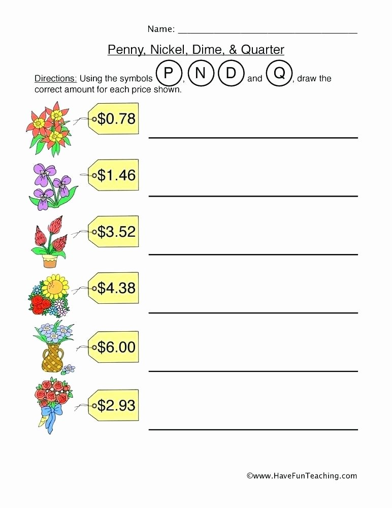 Counting Coins Worksheets First Grade Counting Quarters Worksheets Resource Math Penny Nickel Dime