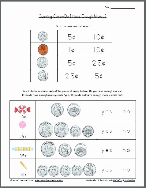 Counting Coins Worksheets First Grade Easy Money Worksheets Printable First Grade Counting
