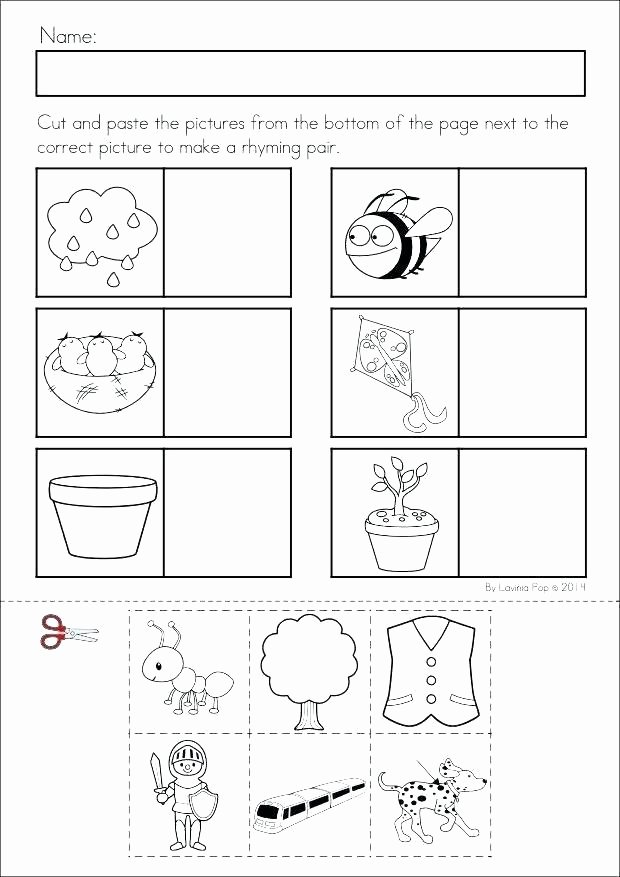 Counting Cut and Paste Worksheets Color Cut and Paste Worksheets Hey Diddle Nursery Rhyme