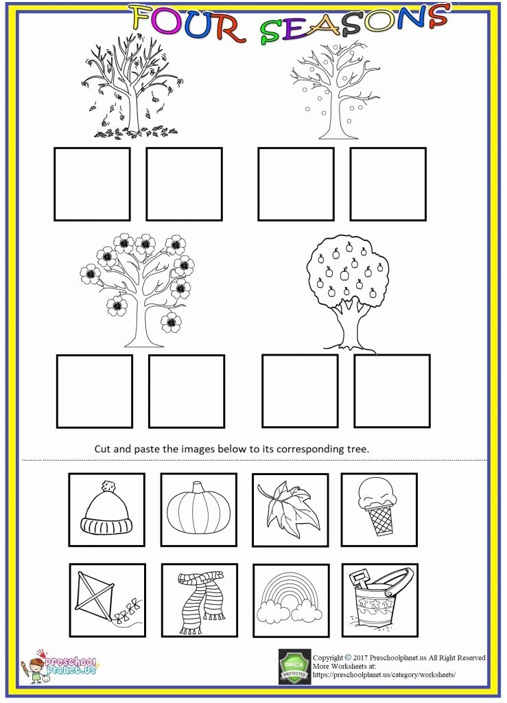 Counting Cut and Paste Worksheets Four Seasons Cut and Paste Worksheet
