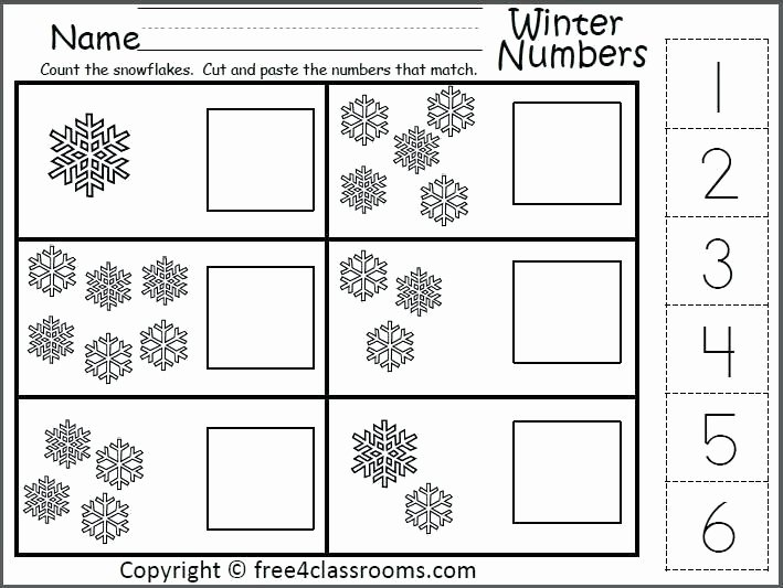 Counting Cut and Paste Worksheets K Winter Number Matching Worksheet for the Numbers 1 to 6
