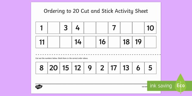 Counting Cut and Paste Worksheets ordering Numbers 1 to 20 Worksheet Maths Resource Twinkl