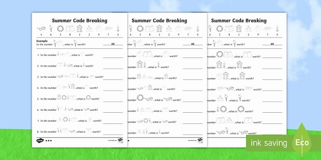 Crack the Code Math Worksheet Differentiated Crack the Code Summer Worksheet Worksheets