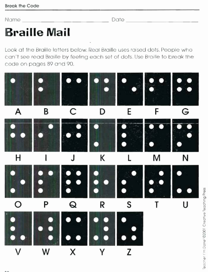 Cracking the Code Math Worksheets Braille Worksheets Printables I Can Write My Name Worksheet