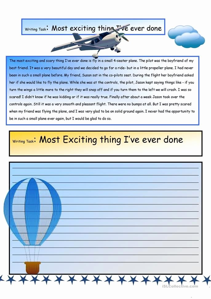 Creative Writing Worksheets for Adults Creative Writing the Most Exciting Thing I Ve Ever Done 6