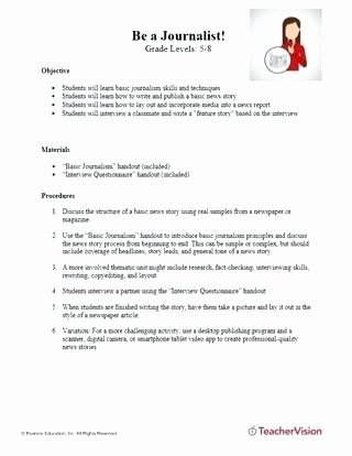 Creative Writing Worksheets for Adults Middle School Journalism Worksheets Experimental Design