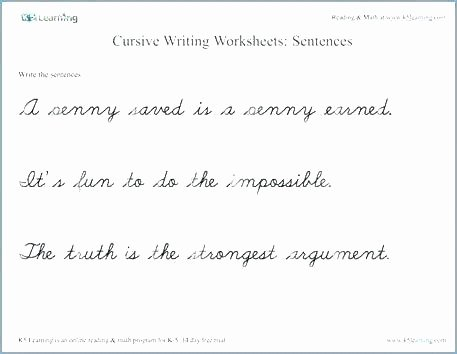 Cursive Sentence Worksheets Handwriting Practice for Kindergarten Free Cursive Writing