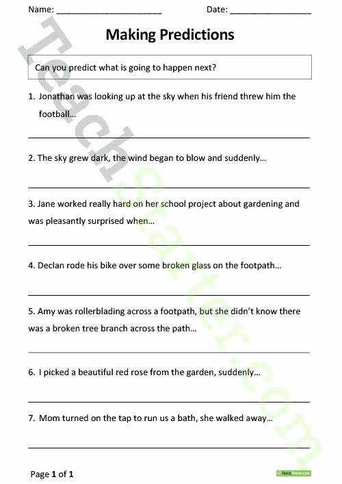 Cursive Sentence Worksheets Making Sentences Worksheets Making Predictions From