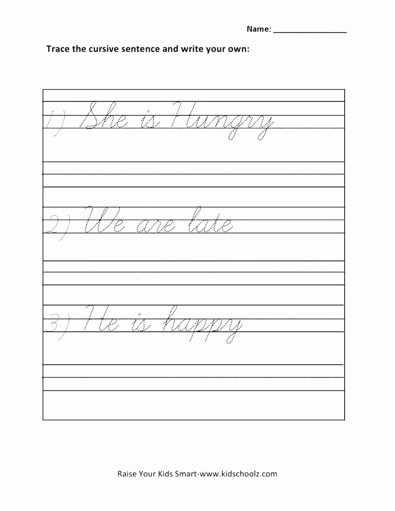 Cursive Sentences Worksheets Printable First Writing Simple Sentences Exercises Pdf How to Write