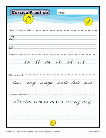 Cursive Writing Sentences Worksheets Cursive D Letter D Worksheets for Handwriting Practice