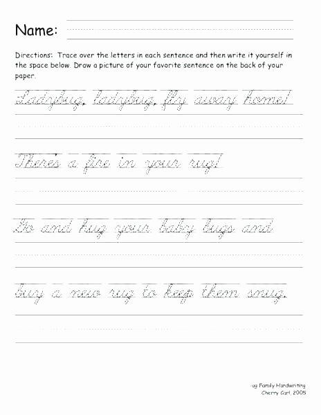 Cursive Writing Worksheets Sentences Blank Cursive Writing Worksheets