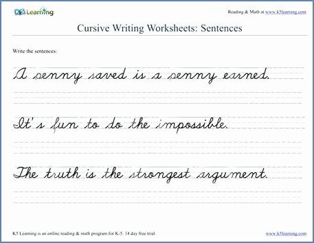 Cursive Writing Worksheets Sentences Cursive Letters Worksheet Free Printable Letter A Worksheets